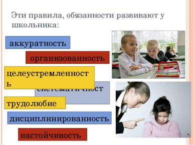 Эти правила, обязанности развивают у школьника: организованность систематично...