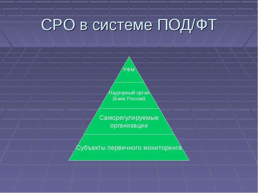 СРО в системе ПОД/ФТ