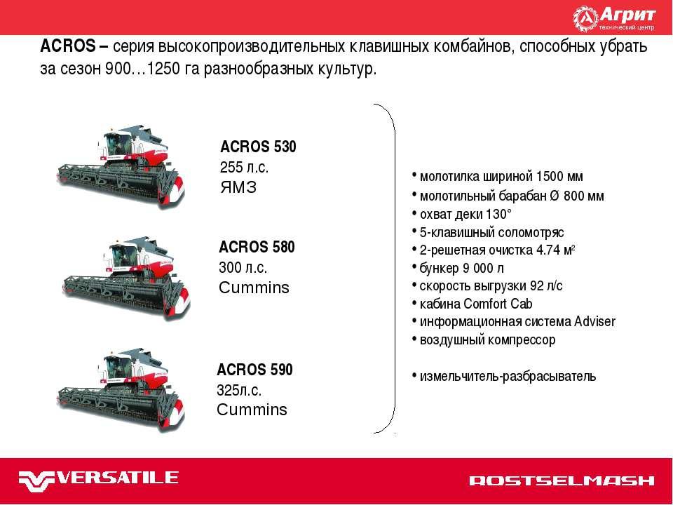 TORUM 740 ACROS 580 300 л.с. Cummins ACROS – серия высокопроизводительных кла...