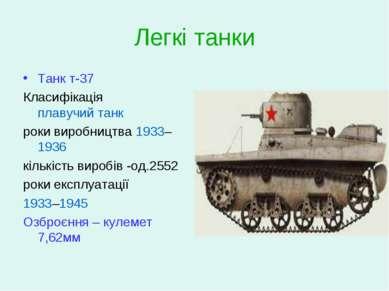Легкі танки Танк т-37 Класифікація плавучий танк роки виробництва 1933–1936 к...