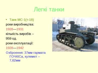 Легкі танки Танк МС-1(т-18) роки виробництва: 1928—1931 кількість виробів – 9...