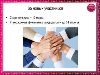 65 новых участников Старт конкурса – 19 марта Утверждение финальных кандидато...