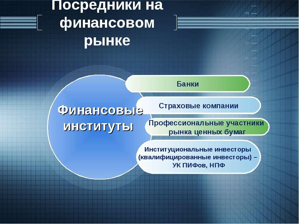 Посредники на финансовом рынке Банки Страховые компании Профессиональные учас...