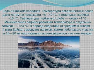 Вода в Байкале холодная. Температура поверхностных слоёв даже летом не превыш...