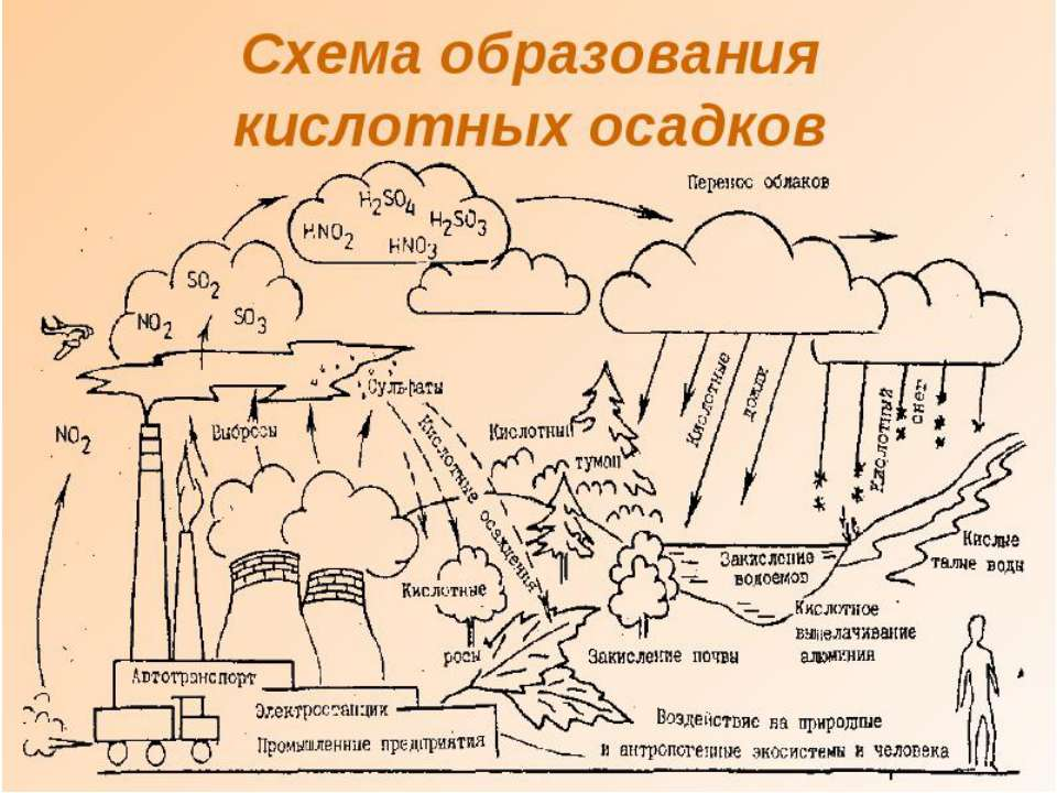 Механізм утворення кислотних осадів
