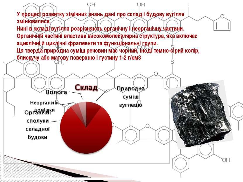 У процесі розвитку хімічних знань дані про склад і будову вугілля змінювалися...