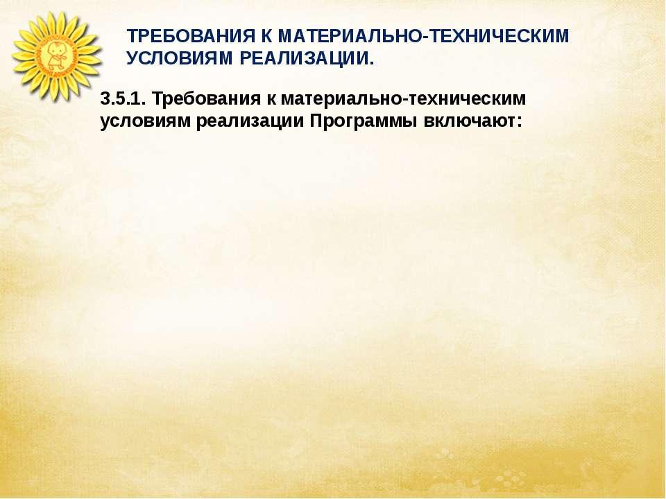 ТРЕБОВАНИЯ К МАТЕРИАЛЬНО-ТЕХНИЧЕСКИМ УСЛОВИЯМ РЕАЛИЗАЦИИ. 3.5.1. Требования к...