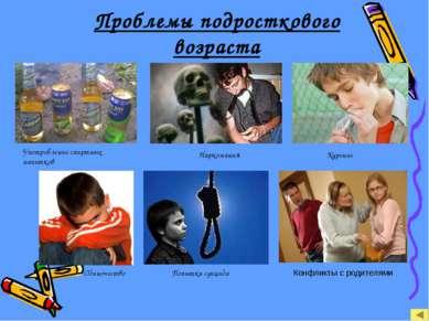 Проблемы подросткового возраста Употребление спиртных напитков Курение Нарком...