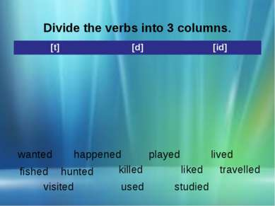 Divide the verbs into 3 columns. wanted happened played lived fished hunted k...