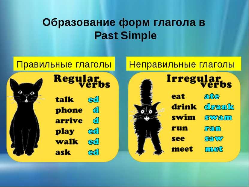Образование форм глагола в Past Simple Правильные глаголы Неправильные глаголы