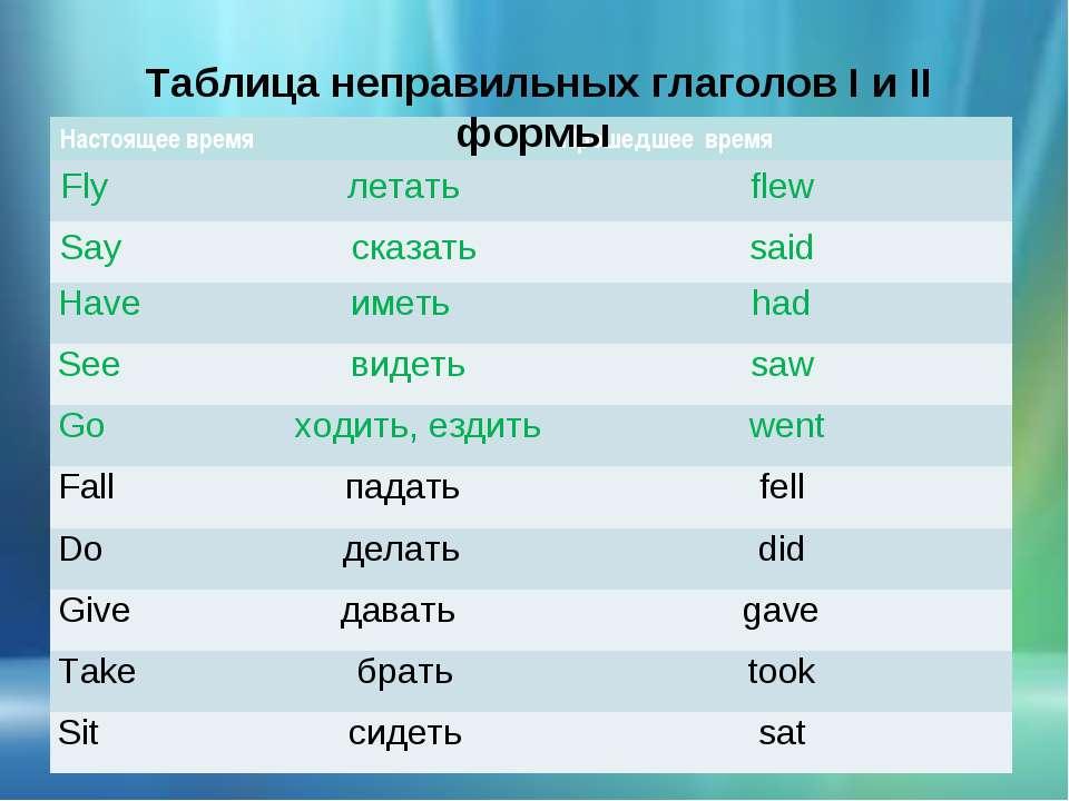 Таблица неправильных глаголов I и II формы Настоящее время Прошедшее время Fl...