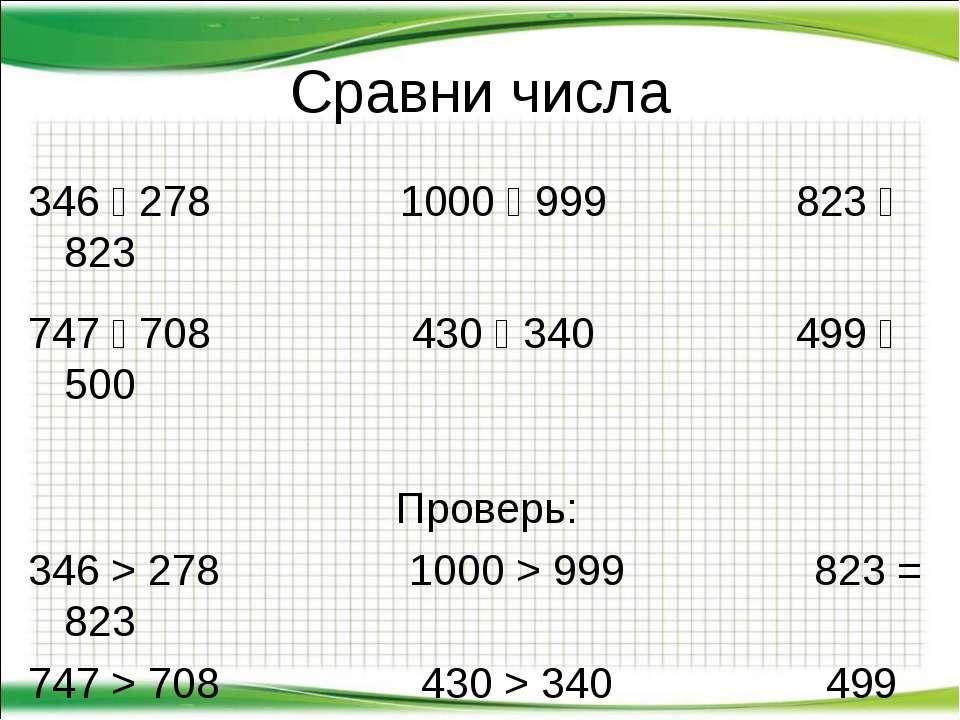 Сравни числа 346 278 1000 999 823 823 747 708 430 340 499 500 Проверь: 346 > ...