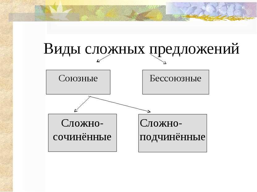 Виды сложных предложений Союзные Сложно Бессоюзные Сложно- сочинённые Сложно-...