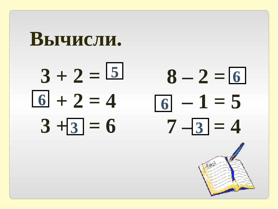 Вычисли. 3 + 2 = + 2 = 4 3 + = 6 8 – 2 = – 1 = 5 7 – = 4 5 6 3 6 6 3