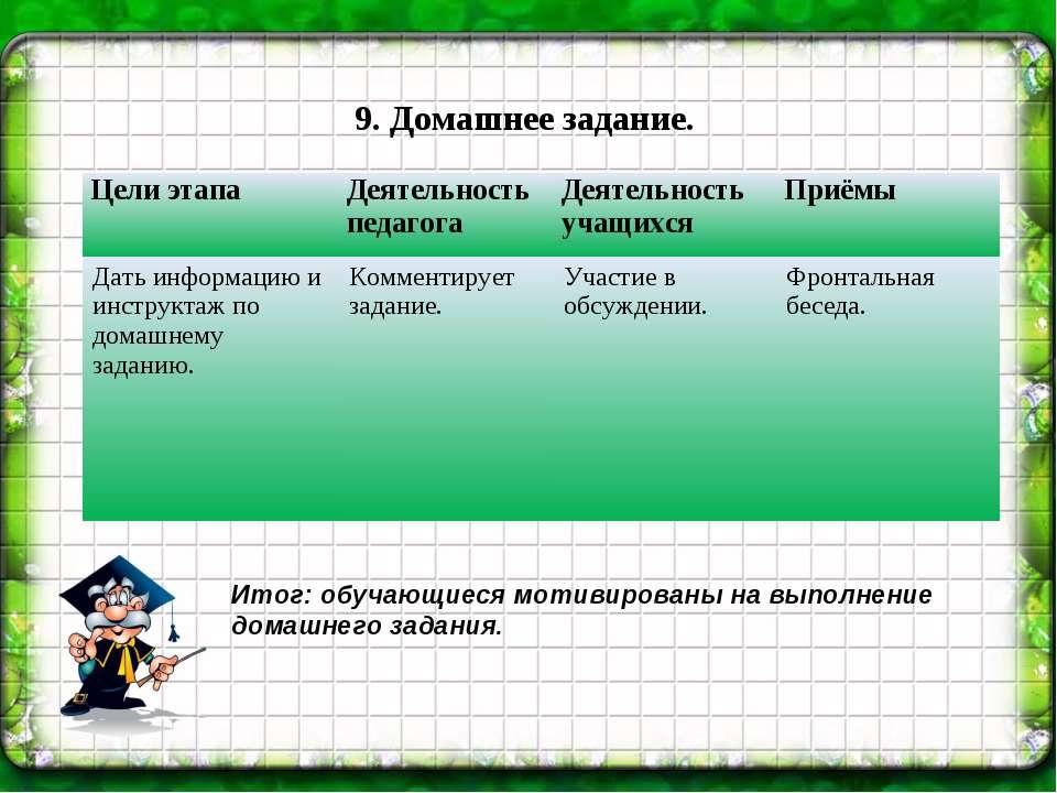 9. Домашнее задание. Итог: обучающиеся мотивированы на выполнение домашнего з...
