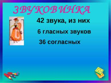 ЗВУКОВИНКА 36 согласных 42 звука, из них 6 гласных звуков