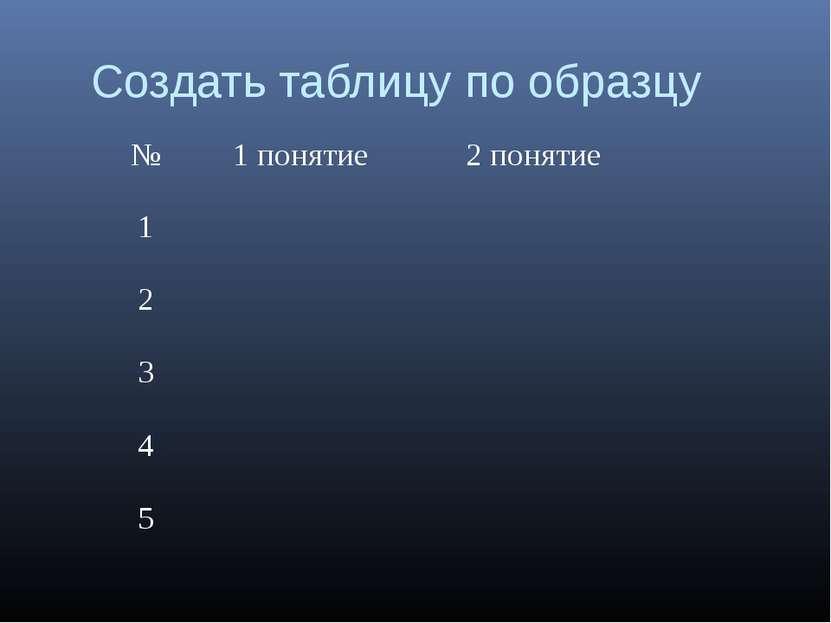 Создать таблицу по образцу № 1 понятие 2 понятие 1  2  3  4  5