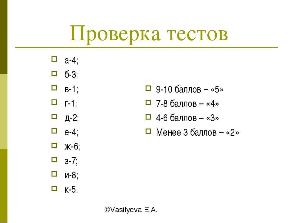 Проверка тестов а-4; б-3; в-1; г-1; д-2; е-4; ж-6; з-7; и-8; к-5. 9-10 баллов...