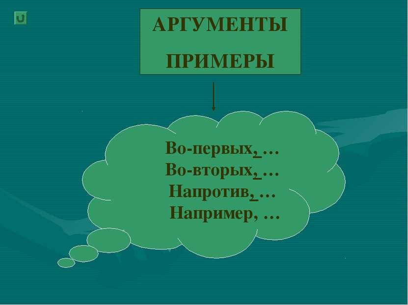 АРГУМЕНТЫ ПРИМЕРЫ Во-первых, … Во-вторых, … Напротив, … Например, …