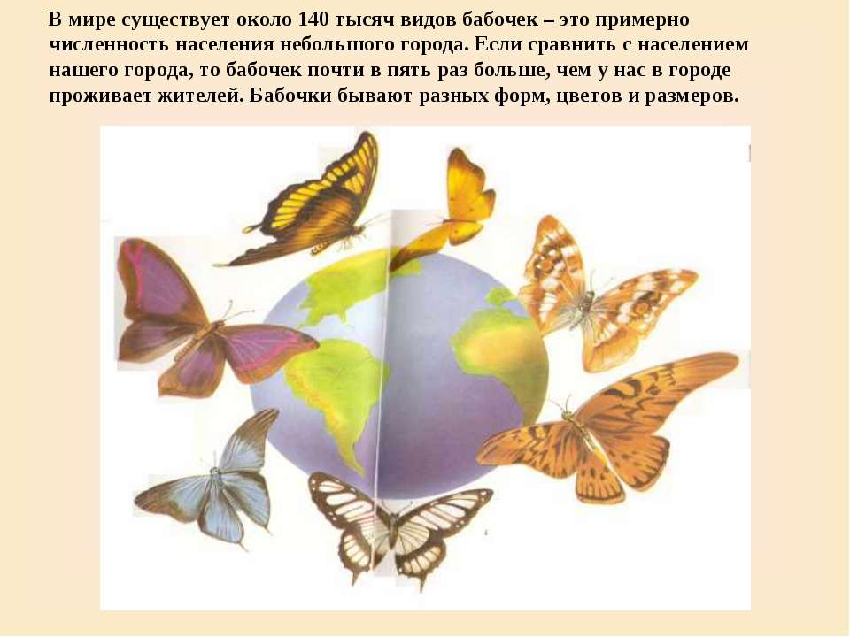 В мире существует около 140 тысяч видов бабочек – это примерно численность на...