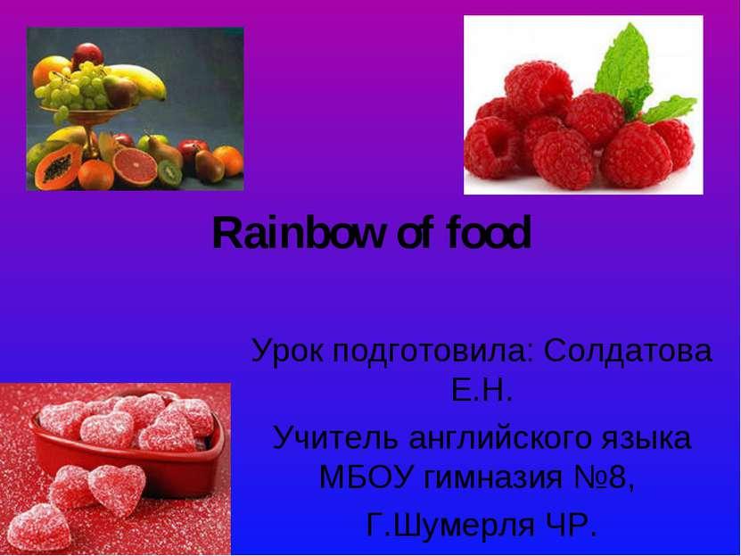 Rainbow of food Урок подготовила: Солдатова Е.Н. Учитель английского языка МБ...
