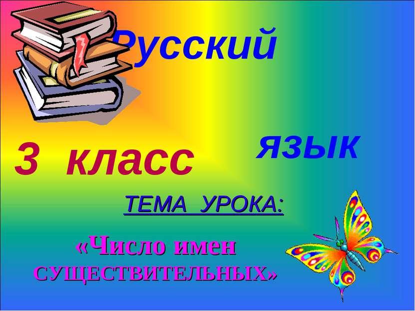 Русский язык 3 класс ТЕМА УРОКА: «Число имен СУЩЕСТВИТЕЛЬНЫХ»