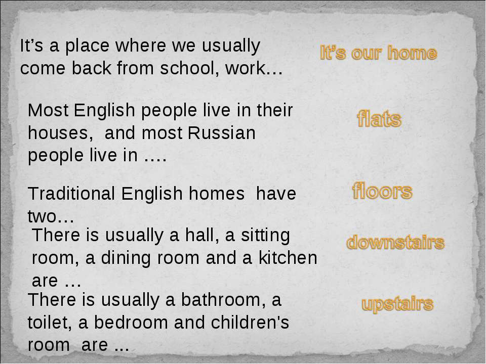 It's a place where we usually come back from school, work… Most English peopl...