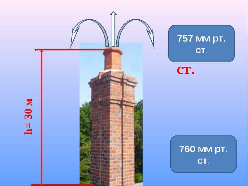 ? мм рт. ст. h= 30 м 757 мм рт. ст. 760 мм рт. ст.