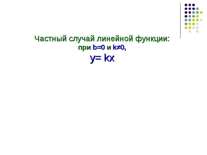 Частный случай линейной функции: при b=0 и k≠0, у= kx
