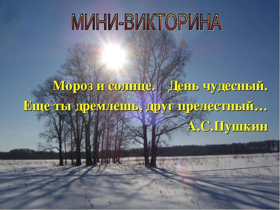 День чудесный. Еще ты дремлешь, друг прелестный… А.С.Пушкин Мороз и солнце.