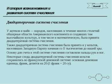 История возникновения и развития систем счисления Двадцатеричная система счис...