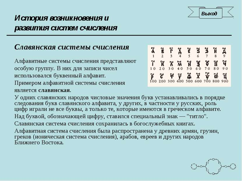 История возникновения и развития систем счисления Славянская системы счислени...