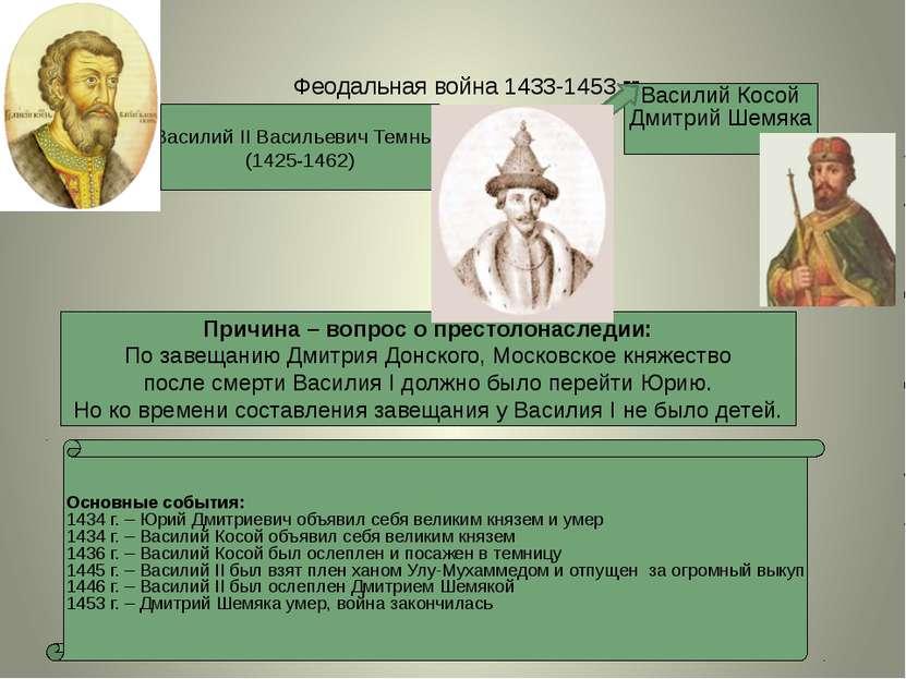 Феодальная война 1433-1453 гг. Василий II Васильевич Темный (1425-1462) Васил...