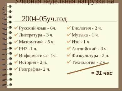 Учебная недельная нагрузка на 2004-05уч.год Русский язык - 6ч. Литература - 3...