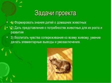 Задачи проекта 1) Формировать знания детей о домашних животных 2) Дать предст...