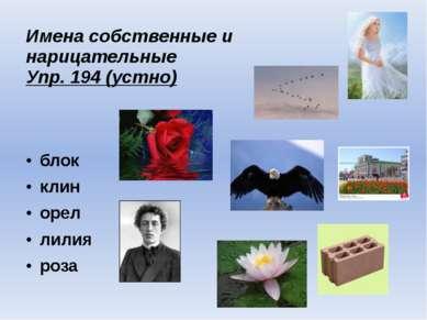 Имена собственные и нарицательные Упр. 194 (устно) блок клин орел лилия роза