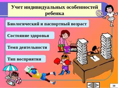 Учет индивидуальных особенностей ребенка Биологический и паспортный возраст С...