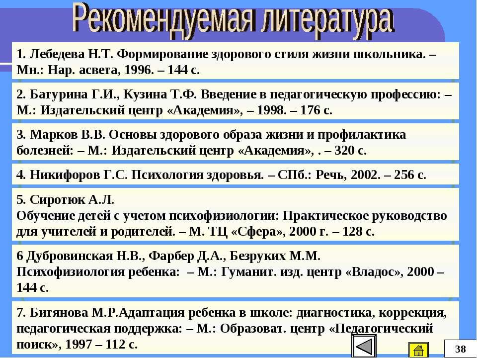 1. Лебедева Н.Т. Формирование здорового стиля жизни школьника. – Мн.: Нар. ас...