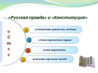 «Русская правда» и «Конституция» установление равенства, свободы отмена крепо...