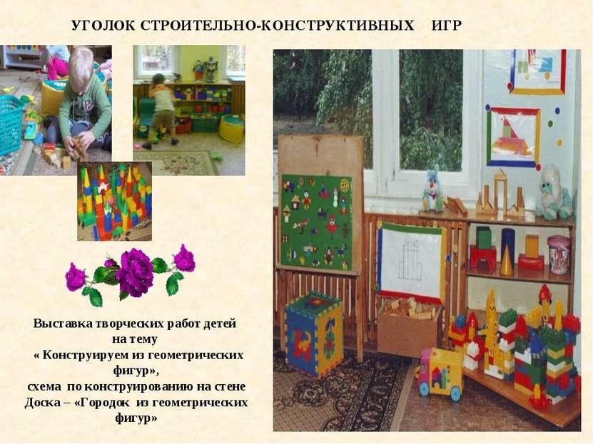 УГОЛОК СТРОИТЕЛЬНО-КОНСТРУКТИВНЫХ ИГР , Выставка творческих работ детей на т...