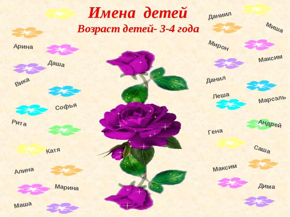 Имена детей Возраст детей- 3-4 года Миша Максим Андрей Гена Саша Максим Вика ...