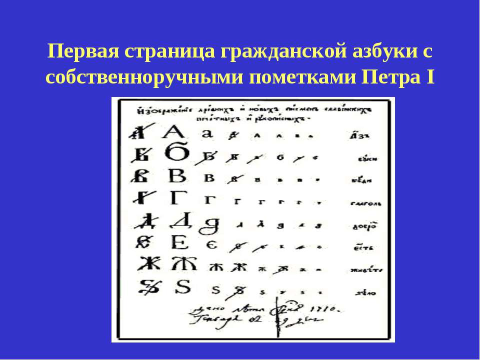 Первая страница гражданской азбуки с собственноручными пометками Петра I