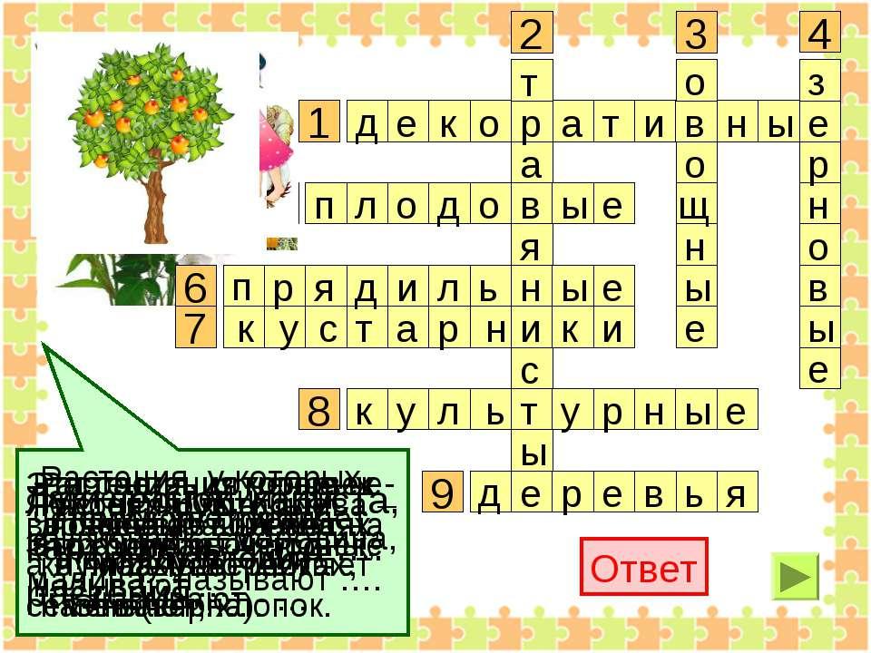 1 2 3 4 6 7 8 9 Ответ Растения, которые че- ловек выращивает на клумбах, цвет...