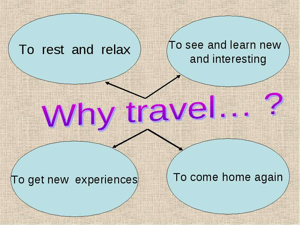 To rest and relax To see and learn new and interesting To get new experiences...