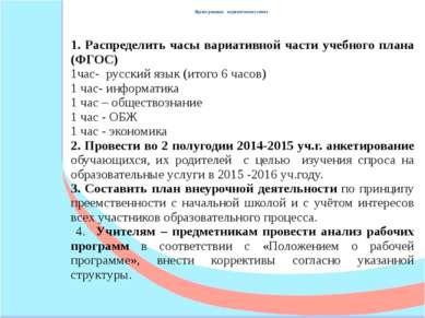 Проект решения педагогического совета 1. Распределить часы вариативной части ...