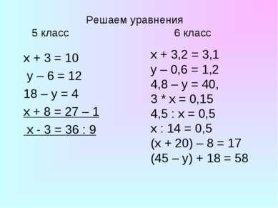 Решаем уравнения 5 класс 6 класс x + 3 = 10 y – 6 = 12 18 – y = 4 х + 8 = 27 ...