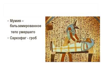 Мумия – бальзамированное тело умершего Саркофаг - гроб
