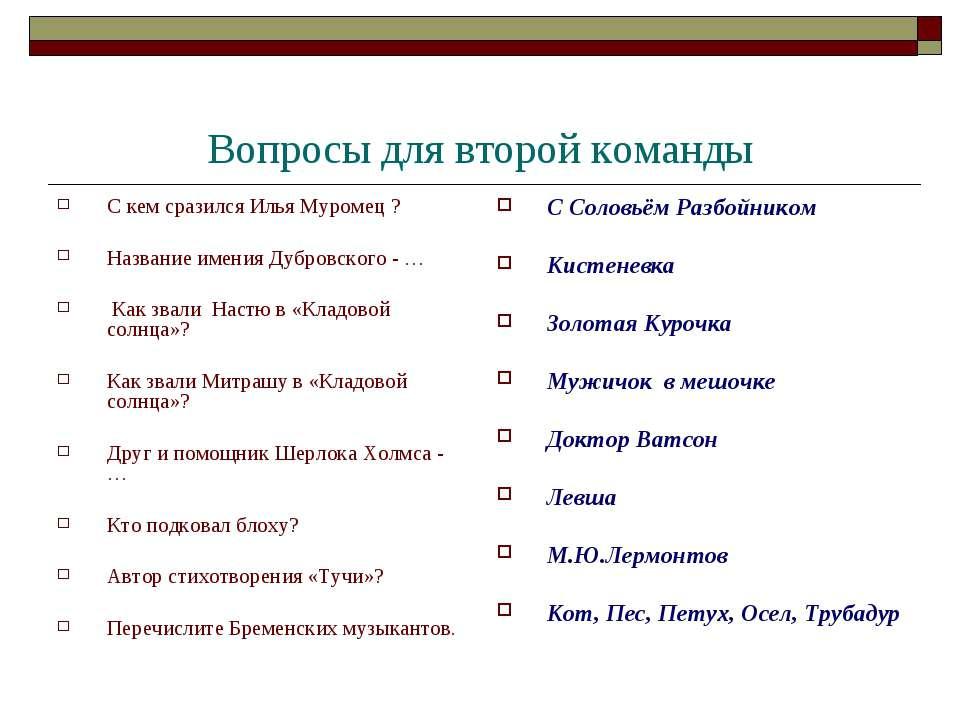 Вопросы для второй команды С кем сразился Илья Муромец ? Название имения Дубр...