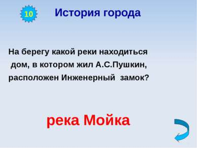 История города На берегу какой реки находиться дом, в котором жил А.С.Пушкин,...