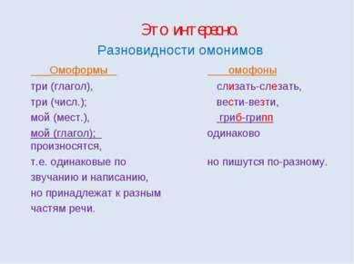 Это интересно. Разновидности омонимов Омоформы омофоны три (глагол), слизать-...